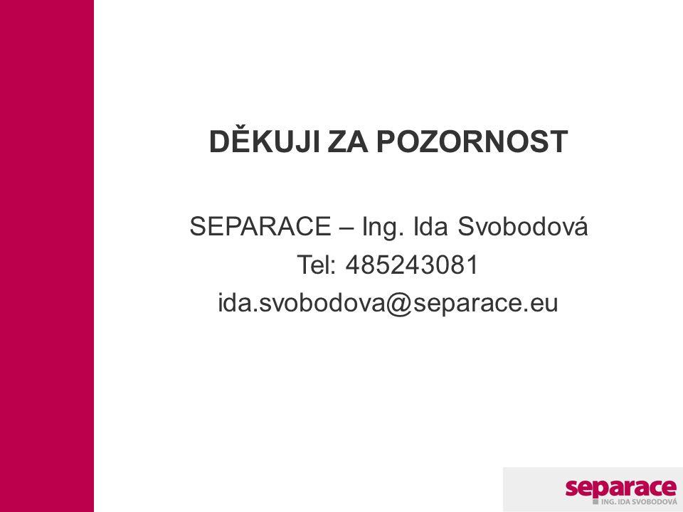 DĚKUJI ZA POZORNOST SEPARACE – Ing. Ida Svobodová Tel: 485243081 ida.svobodova@separace.eu