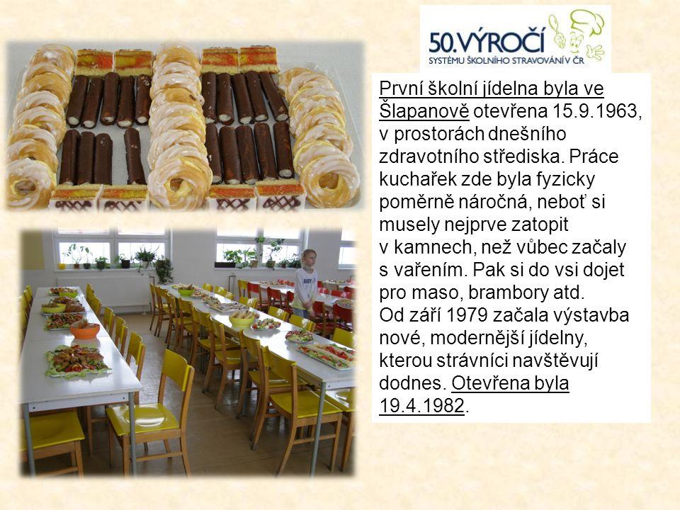 První školní jídelna byla ve Šlapanově otevřena 15.9.1963, v prostorách dnešního zdravotního střediska.