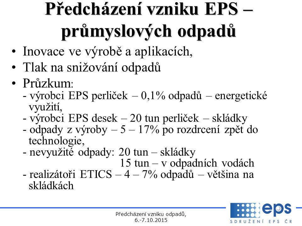 Předcházení vzniku odpadů, 6.-7.10.2015 Předcházení vzniku EPS– průmyslových odpadů Předcházení vzniku EPS – průmyslových odpadů Inovace ve výrobě a aplikacích, Tlak na snižování odpadů Průzkum : - výrobci EPS perliček – 0,1% odpadů – energetické využití, - výrobci EPS desek – 20 tun perliček – skládky - odpady z výroby – 5 – 17% po rozdrcení zpět do technologie, - nevyužité odpady: 20 tun – skládky 15 tun – v odpadních vodách - realizátoři ETICS – 4 – 7% odpadů – většina na skládkách