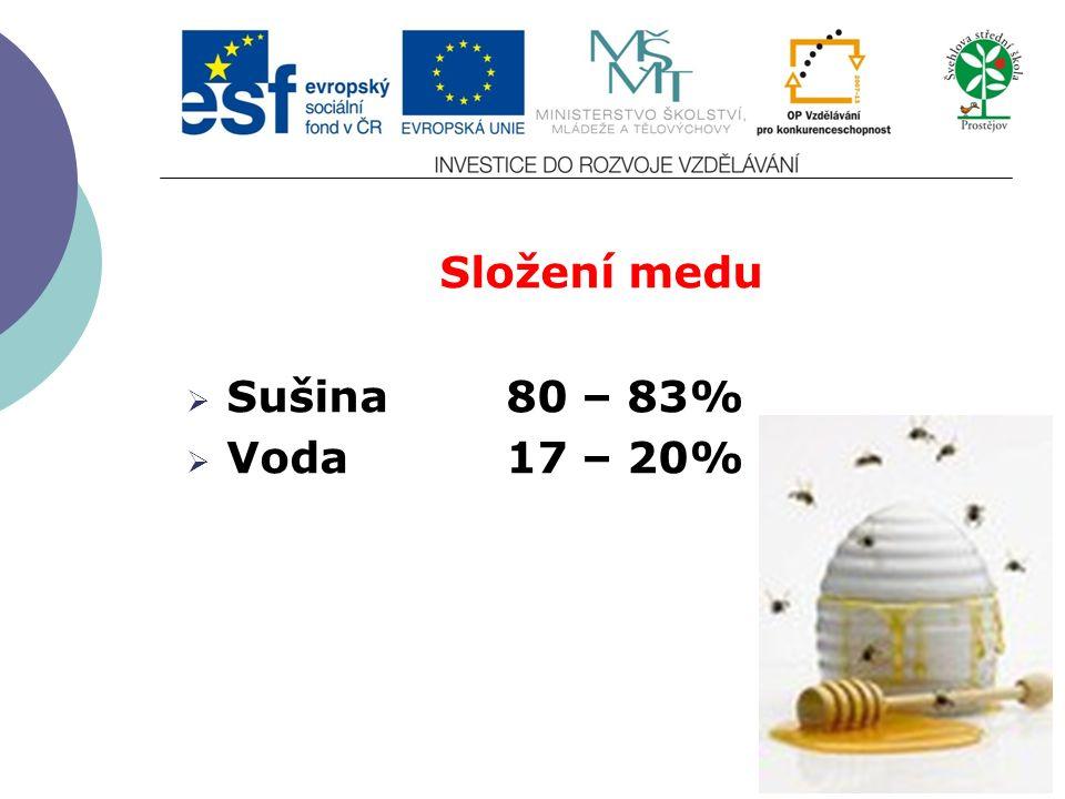 Složení medu  Sušina80 – 83%  Voda17 – 20%