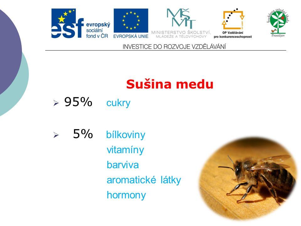 Sušina medu  95% cukry  5% bílkoviny vitamíny barviva aromatické látky hormony