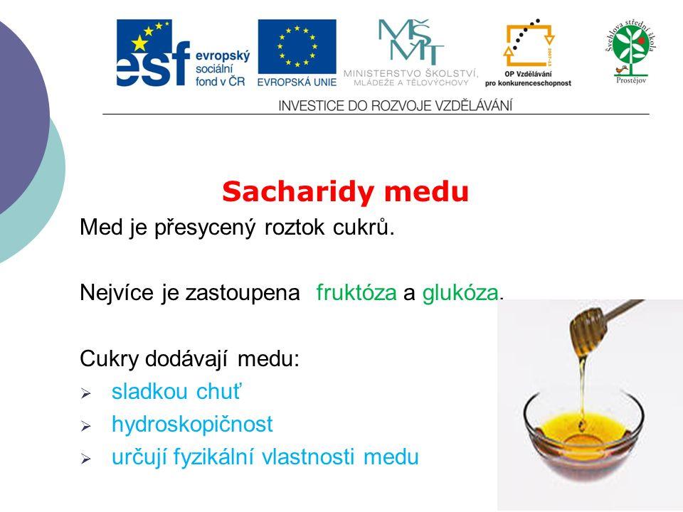 Sacharidy medu Med je přesycený roztok cukrů. Nejvíce je zastoupena fruktóza a glukóza.