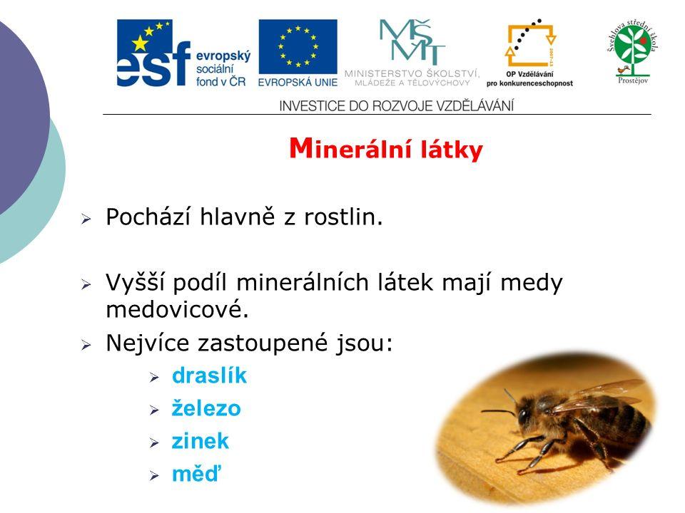 M inerální látky  Pochází hlavně z rostlin.  Vyšší podíl minerálních látek mají medy medovicové.