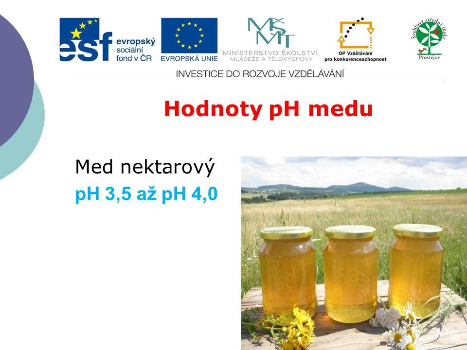 Hodnoty pH medu Med nektarový pH 3,5 až pH 4,0
