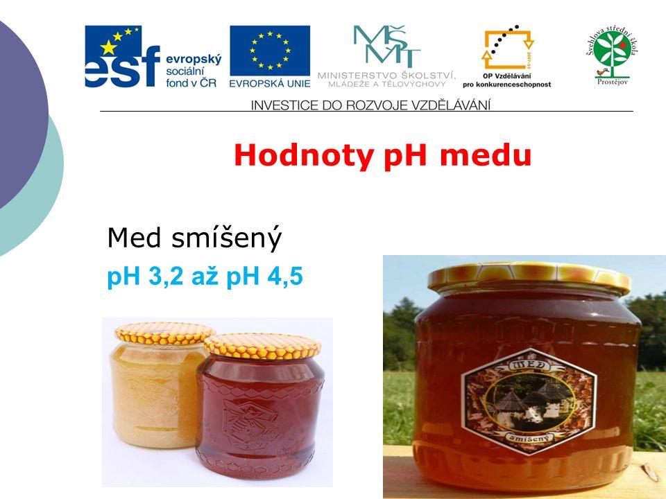 Hodnoty pH medu Med smíšený pH 3,2 až pH 4,5