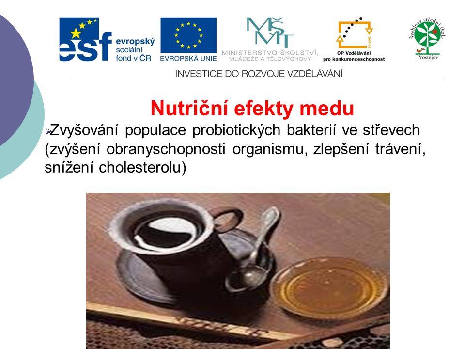 Nutriční efekty medu  Zvyšování populace probiotických bakterií ve střevech (zvýšení obranyschopnosti organismu, zlepšení trávení, snížení cholesterolu)