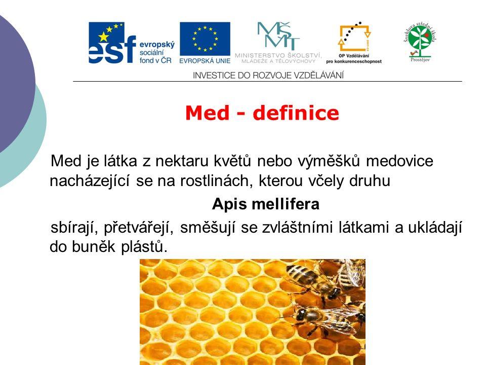 Slide 2…atd Med - definice Med je látka z nektaru květů nebo výměšků medovice nacházející se na rostlinách, kterou včely druhu Apis mellifera sbírají, přetvářejí, směšují se zvláštními látkami a ukládají do buněk plástů.