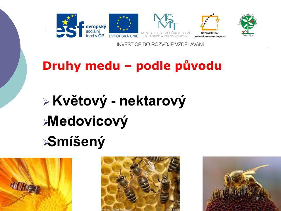 Slide 2…atd Druhy medu – podle původu  Květový - nektarový  Medovicový  Smíšený