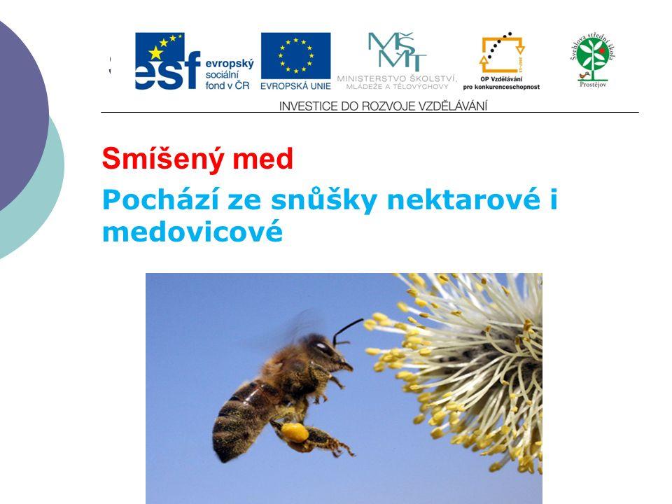 Slide 2…atd Smíšený med Pochází ze snůšky nektarové i medovicové