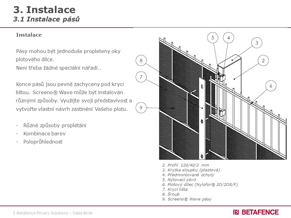3 Betafence Privacy Solutions – Sales Book 3. Installation 3.1 Installation of the strips
