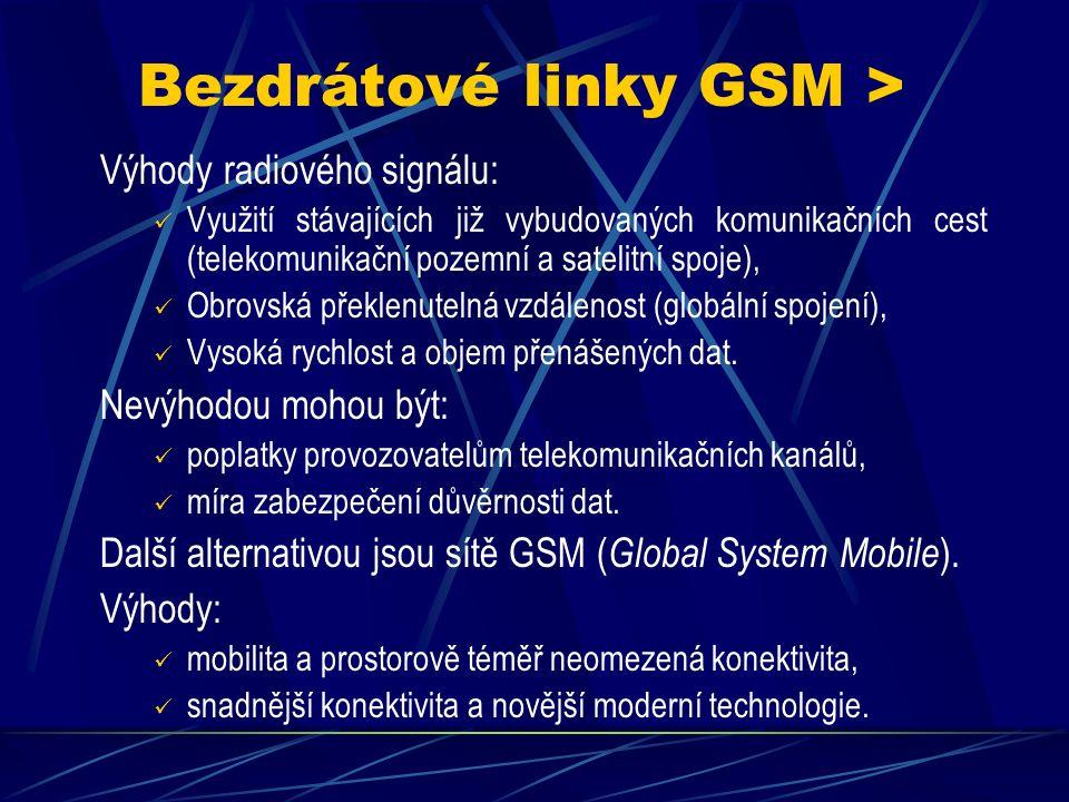 """Bezdrátové linky RR > S rozvojem radioelektroniky a komunikací v mikrovlnném pásmu a prostřednictvím komunikačních satelitů se otevřela možnost přenosu dat i tímto přenosovým """"médiem (elmg."""