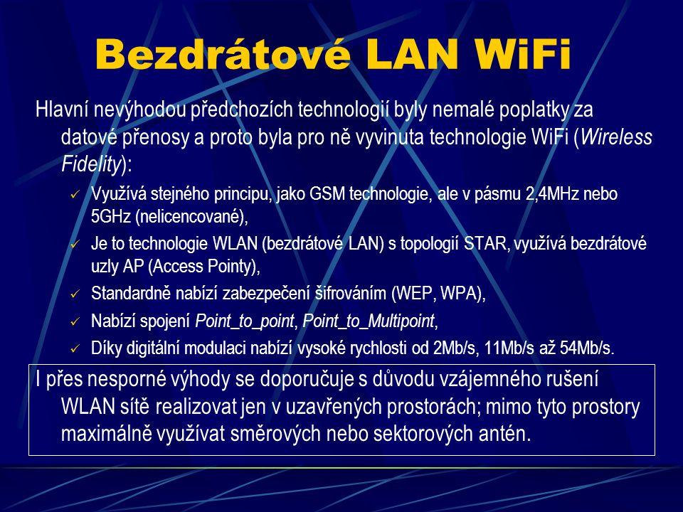 Bezdrátové linky GPRS, EDGE > Nevýhodou GSM: vyšší poplatky za dobu připojení, nižší rychlost omezená kapacitou hlasového kanálu (9,6kb/s), Není možný současný přenos dat i hovoru.