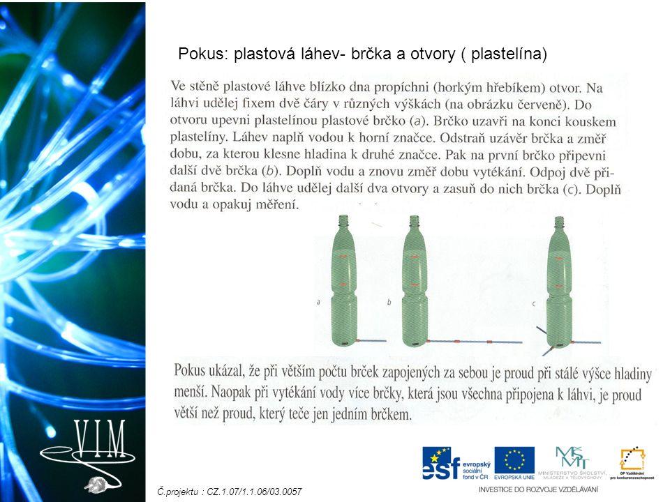 Č.projektu : CZ.1.07/1.1.06/03.0057 Pokus: plastová láhev- brčka a otvory ( plastelína)