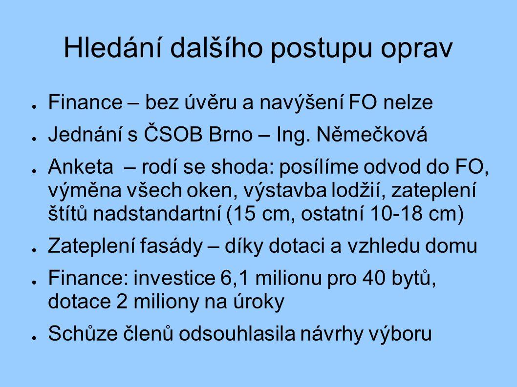 Hledání dalšího postupu oprav ● Finance – bez úvěru a navýšení FO nelze ● Jednání s ČSOB Brno – Ing. Němečková ● Anketa – rodí se shoda: posílíme odvo