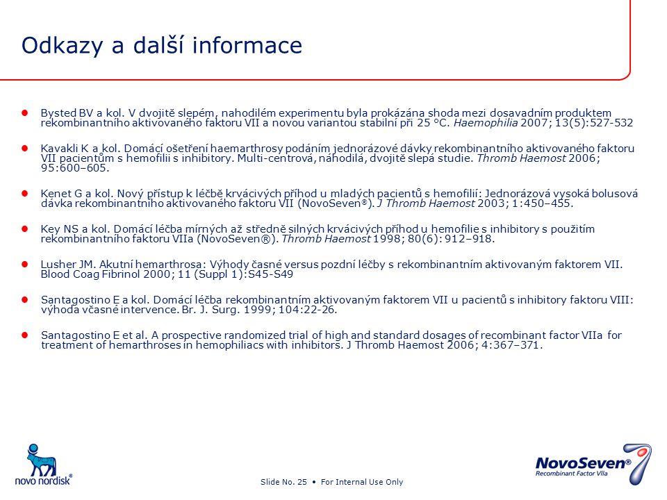 Slide No. 25 For Internal Use Only Odkazy a další informace Bysted BV a kol.
