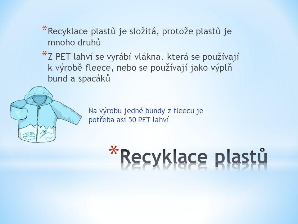 * Recyklace plastů je složitá, protože plastů je mnoho druhů * Z PET lahví se vyrábí vlákna, která se používají k výrobě fleece, nebo se používají jako výplň bund a spacáků Na výrobu jedné bundy z fleecu je potřeba asi 50 PET lahví