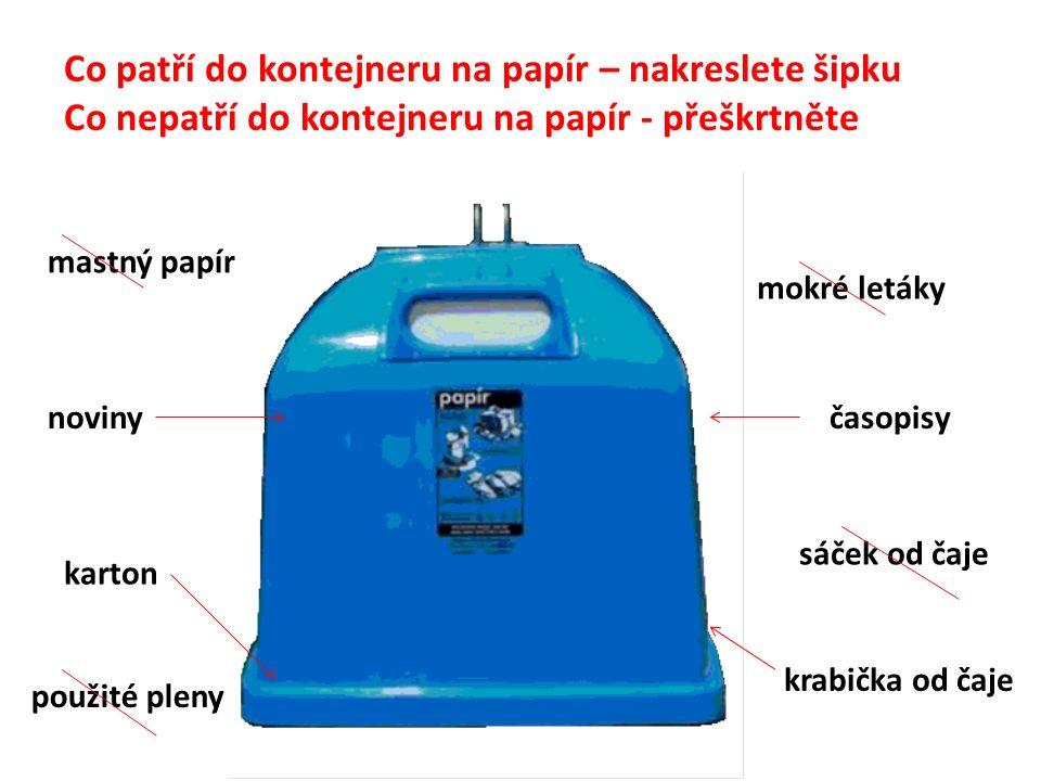 Co patří do kontejneru na papír – nakreslete šipku Co nepatří do kontejneru na papír - přeškrtněte mastný papír noviny karton použité pleny mokré letáky časopisy sáček od čaje krabička od čaje