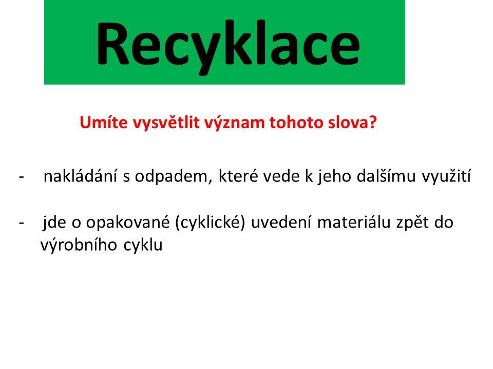 Recyklace Umíte vysvětlit význam tohoto slova.