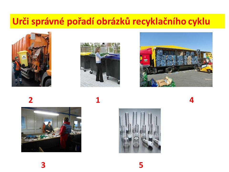 Urči správné pořadí obrázků recyklačního cyklu 2 1 4 3 5