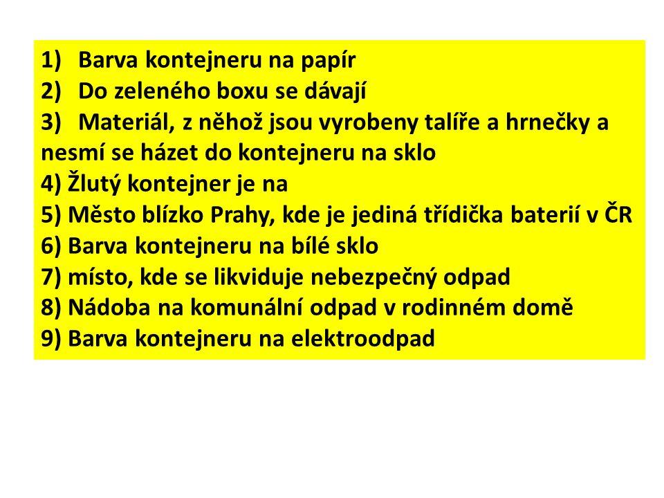 1)Barva kontejneru na papír 2)Do zeleného boxu se dávají 3)Materiál, z něhož jsou vyrobeny talíře a hrnečky a nesmí se házet do kontejneru na sklo 4) Žlutý kontejner je na 5) Město blízko Prahy, kde je jediná třídička baterií v ČR 6) Barva kontejneru na bílé sklo 7) místo, kde se likviduje nebezpečný odpad 8) Nádoba na komunální odpad v rodinném domě 9) Barva kontejneru na elektroodpad