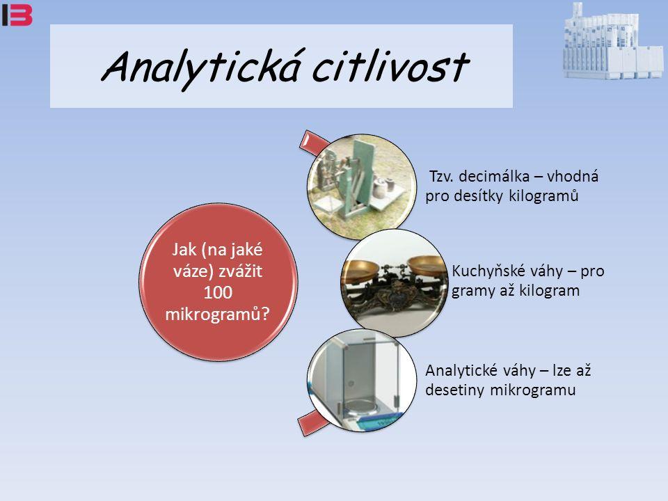 Analytická citlivost Jak (na jaké váze) zvážit 100 mikrogramů.