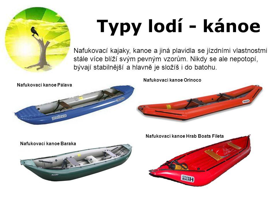 Typy lodí - kánoe Nafukovací kajaky, kanoe a jiná plavidla se jízdními vlastnostmi stále více blíží svým pevným vzorům. Nikdy se ale nepotopí, bývají