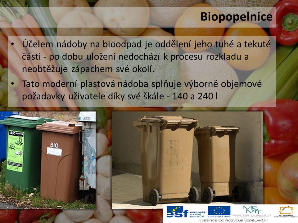 Účelem nádoby na bioodpad je oddělení jeho tuhé a tekuté části - po dobu uložení nedochází k procesu rozkladu a neobtěžuje zápachem své okolí.