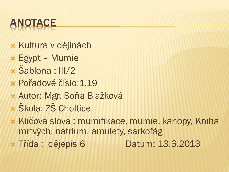  Kultura v dějinách  Egypt – Mumie  Šablona : III/2  Pořadové číslo:1.19  Autor: Mgr. Soňa Blažková  Škola: ZŠ Choltice  Klíčová slova : mumifi