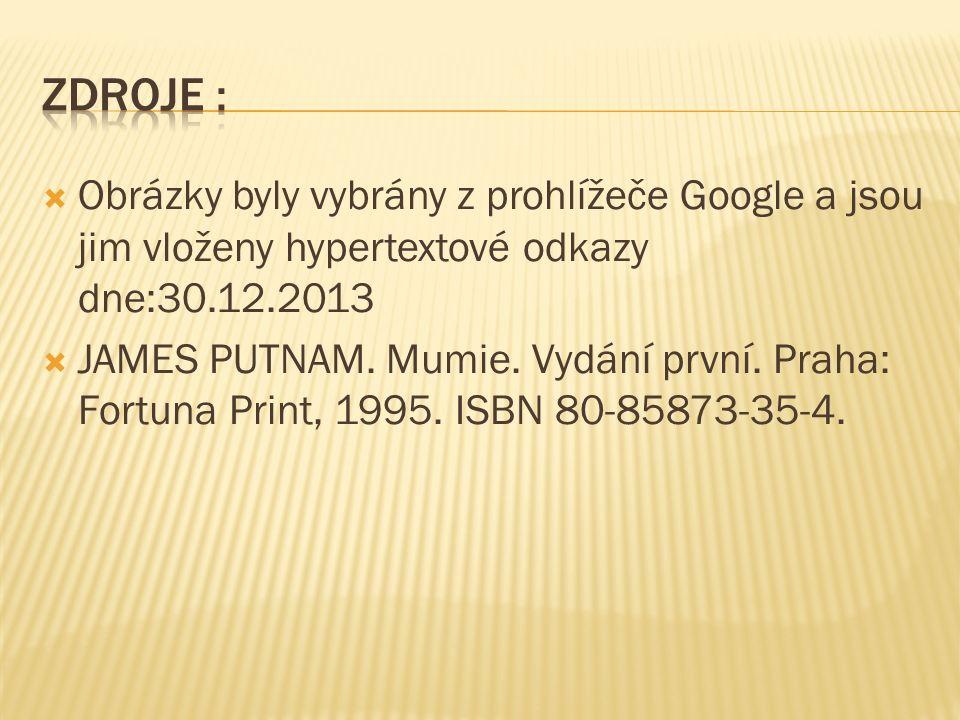 Obrázky byly vybrány z prohlížeče Google a jsou jim vloženy hypertextové odkazy dne:30.12.2013  JAMES PUTNAM. Mumie. Vydání první. Praha: Fortuna P