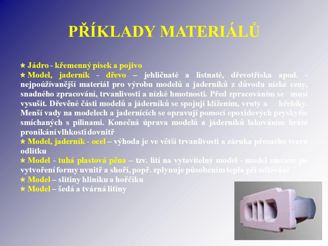 PŘÍKLADY MATERIÁLŮ Jádro - křemenný písek a pojivo Model, jaderník - dřevo – jehličnaté a listnaté, dřevotříska apod.