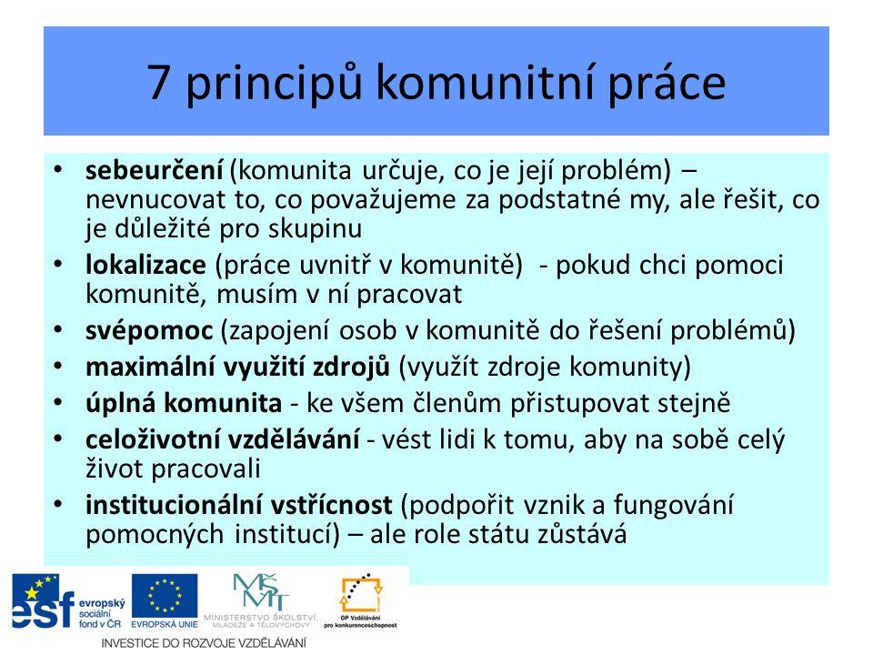 7 principů komunitní práce sebeurčení (komunita určuje, co je její problém) – nevnucovat to, co považujeme za podstatné my, ale řešit, co je důležité pro skupinu lokalizace (práce uvnitř v komunitě) - pokud chci pomoci komunitě, musím v ní pracovat svépomoc (zapojení osob v komunitě do řešení problémů) maximální využití zdrojů (využít zdroje komunity) úplná komunita - ke všem členům přistupovat stejně celoživotní vzdělávání - vést lidi k tomu, aby na sobě celý život pracovali institucionální vstřícnost (podpořit vznik a fungování pomocných institucí) – ale role státu zůstává