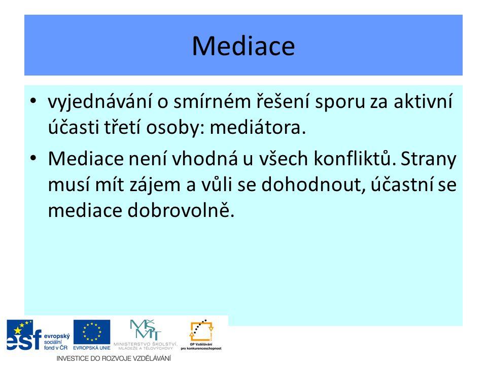 Mediace vyjednávání o smírném řešení sporu za aktivní účasti třetí osoby: mediátora.