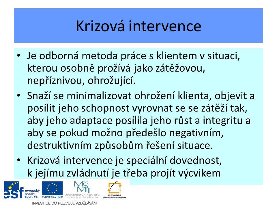 Krizová intervence Je odborná metoda práce s klientem v situaci, kterou osobně prožívá jako zátěžovou, nepříznivou, ohrožující.
