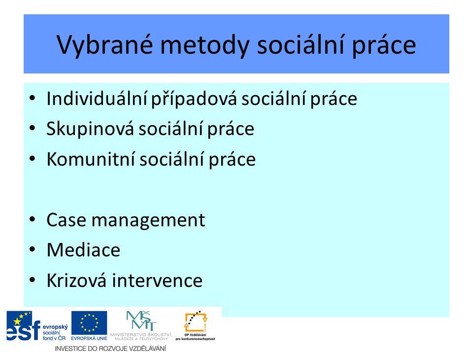 Vybrané metody sociální práce Individuální případová sociální práce Skupinová sociální práce Komunitní sociální práce Case management Mediace Krizová intervence