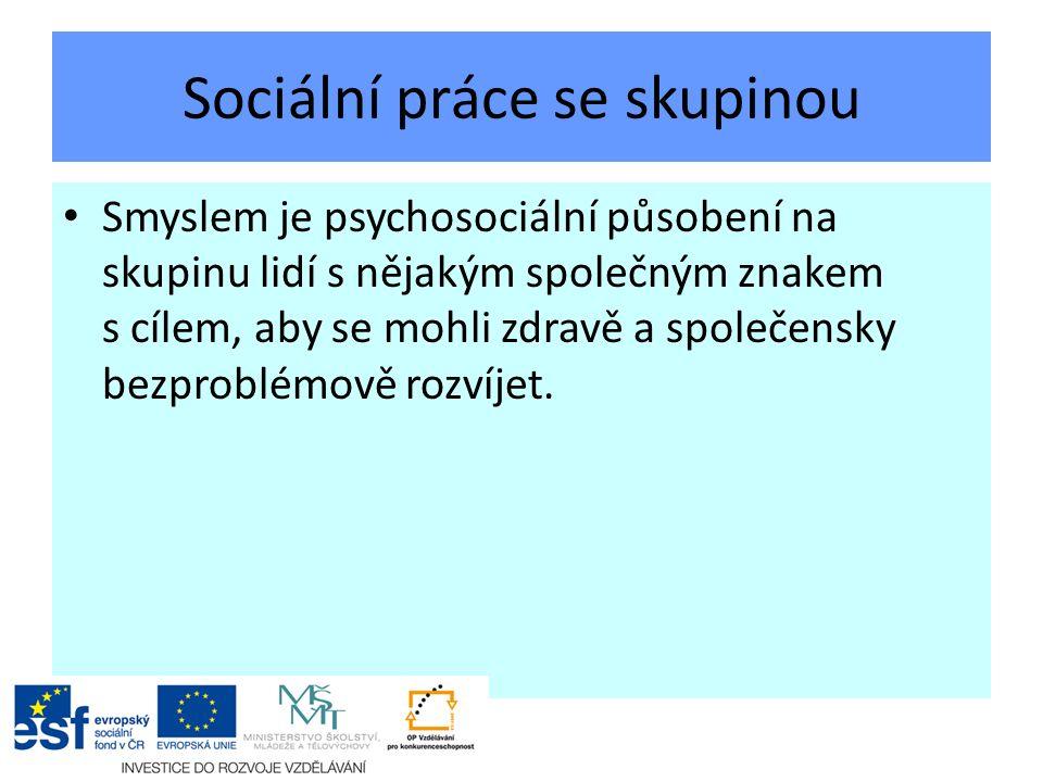 Sociální práce se skupinou Smyslem je psychosociální působení na skupinu lidí s nějakým společným znakem s cílem, aby se mohli zdravě a společensky bezproblémově rozvíjet.