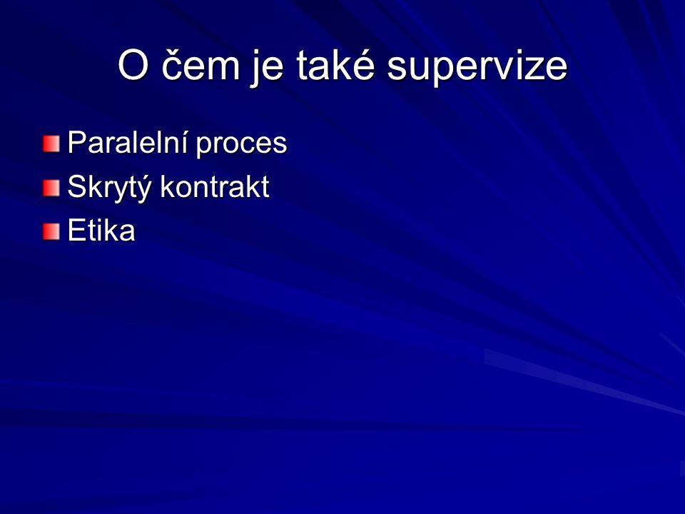 O čem je také supervize Paralelní proces Skrytý kontrakt Etika