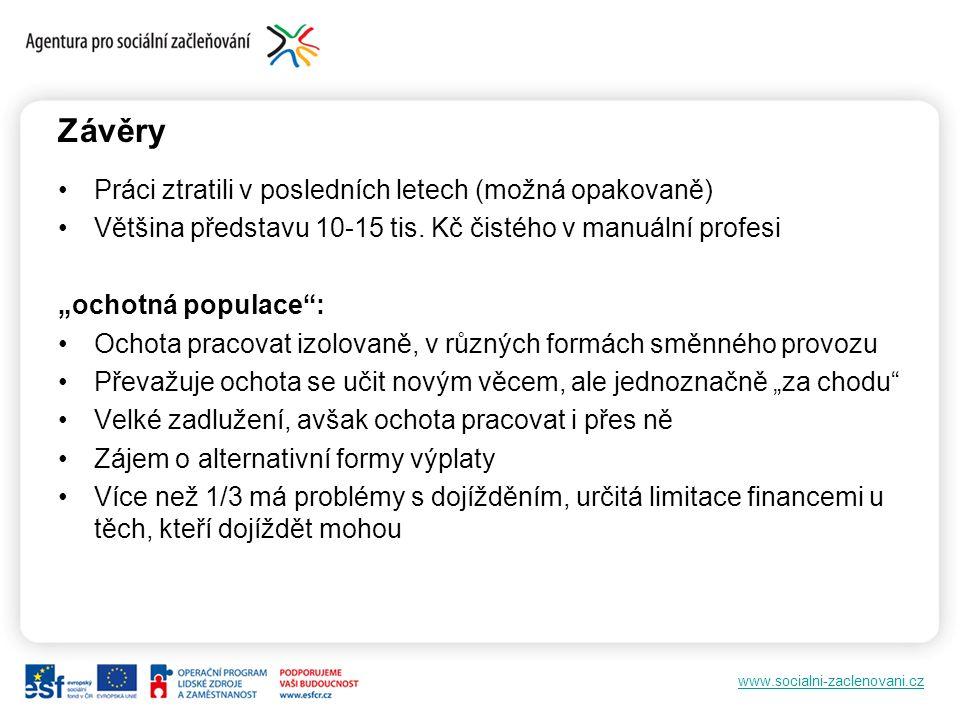 """www.socialni-zaclenovani.cz Závěry Práci ztratili v posledních letech (možná opakovaně) Většina představu 10-15 tis. Kč čistého v manuální profesi """"oc"""