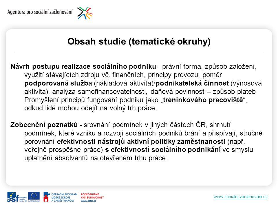 www.socialni-zaclenovani.cz Obsah studie (tematické okruhy) Návrh postupu realizace sociálního podniku - právní forma, způsob založení, využití stávaj