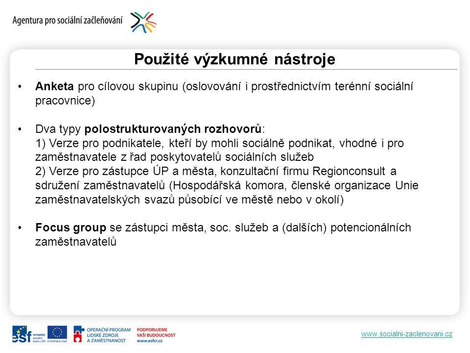 www.socialni-zaclenovani.cz Potencionální zaměstnanci 46 respondentů ze 2 lokalit (ulice Chomutovská a Prunéřov), 72% žen, 28% mužů Věk: 15-25: 13%, 26-39: 50%, 40-59: 30%, 60 a více: 7% ¾ bez práce pracující zejm.