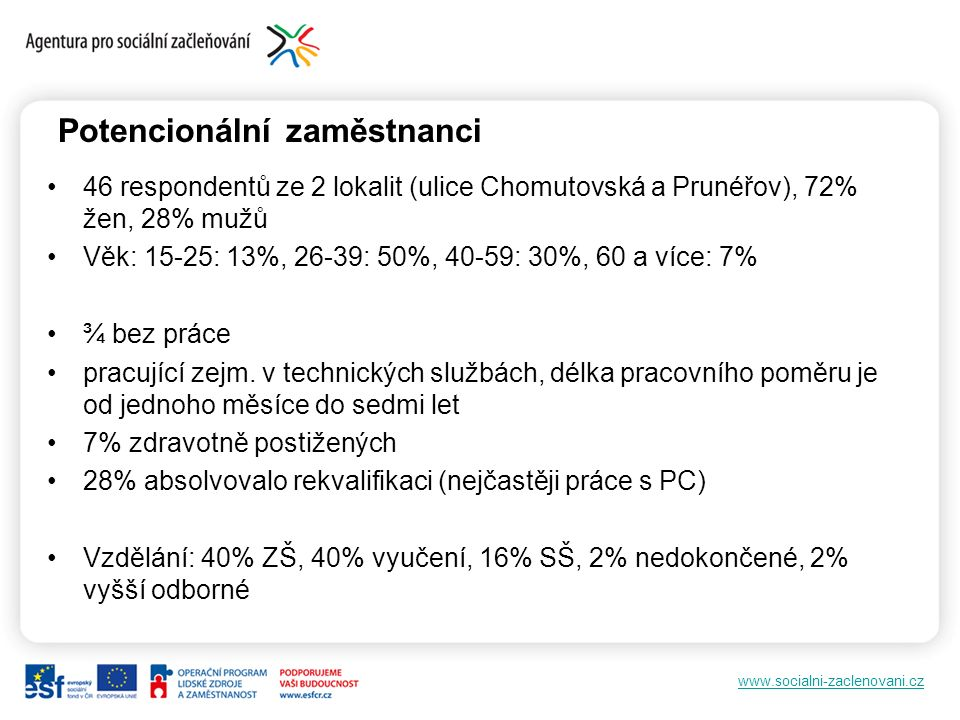 www.socialni-zaclenovani.cz Potencionální zaměstnanci 46 respondentů ze 2 lokalit (ulice Chomutovská a Prunéřov), 72% žen, 28% mužů Věk: 15-25: 13%, 2