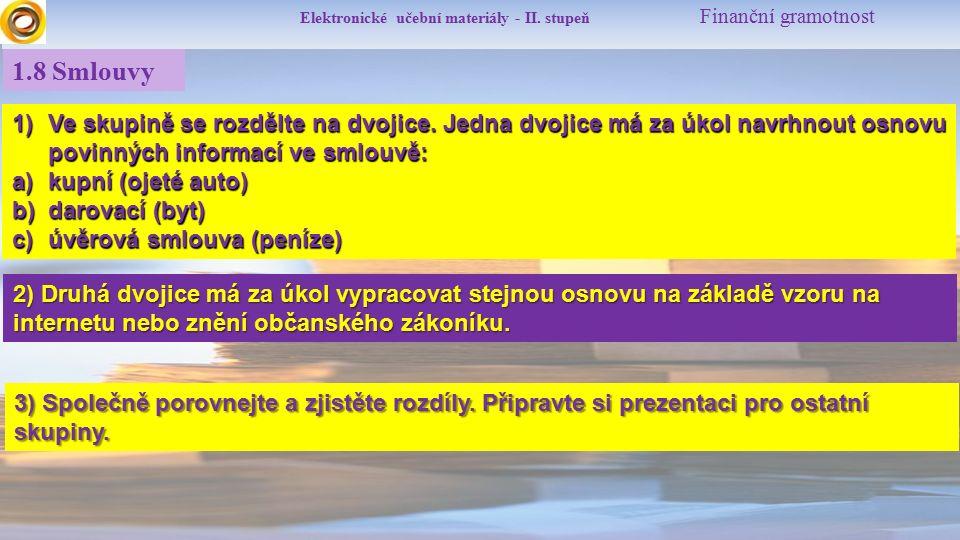 Elektronické učební materiály - II.stupeň Finanční gramotnost 1.9 Zdroje Mgr.