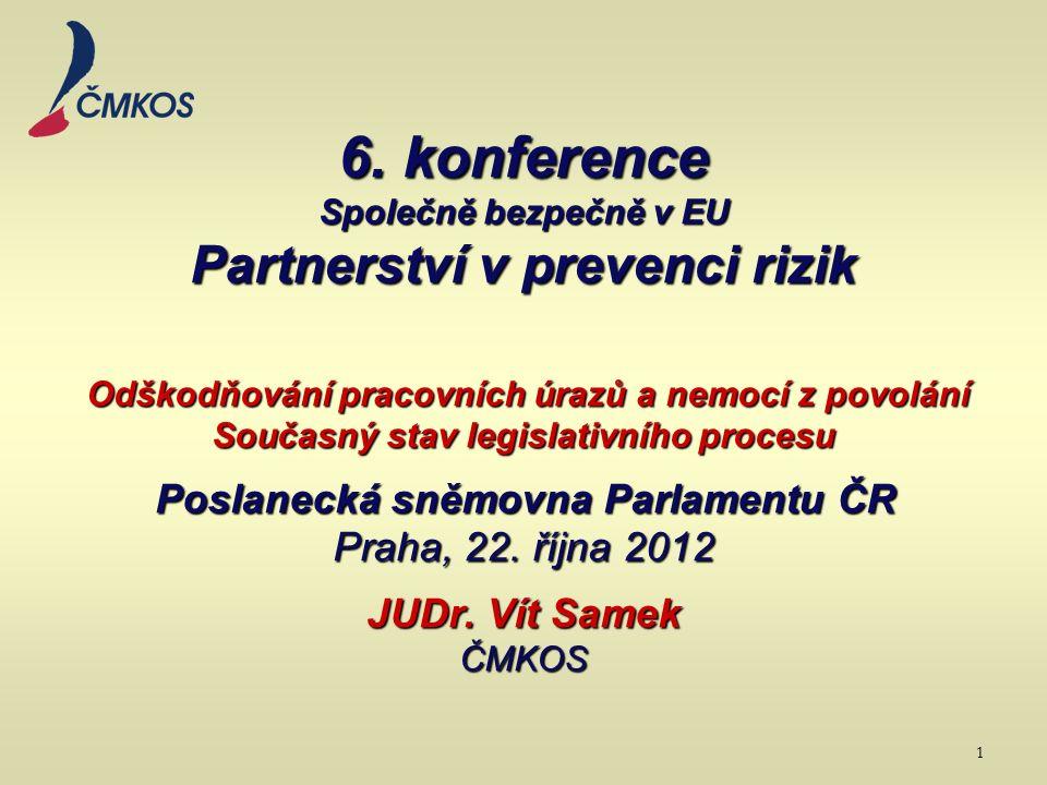 6. konference Společně bezpečně v EU Partnerství v prevenci rizik Odškodňování pracovních úrazů a nemocí z povolání Současný stav legislativního proce