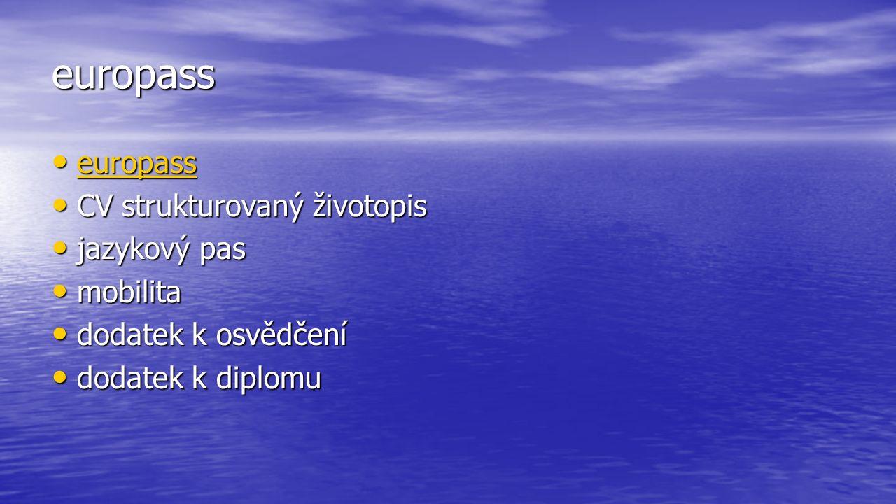 europass europass europass europass CV strukturovaný životopis CV strukturovaný životopis jazykový pas jazykový pas mobilita mobilita dodatek k osvědčení dodatek k osvědčení dodatek k diplomu dodatek k diplomu