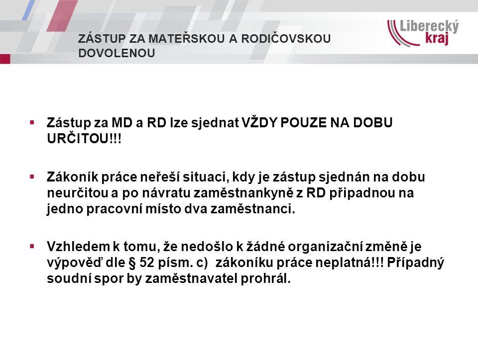 ZÁSTUP ZA MATEŘSKOU A RODIČOVSKOU DOVOLENOU  Zástup za MD a RD lze sjednat VŽDY POUZE NA DOBU URČITOU!!.