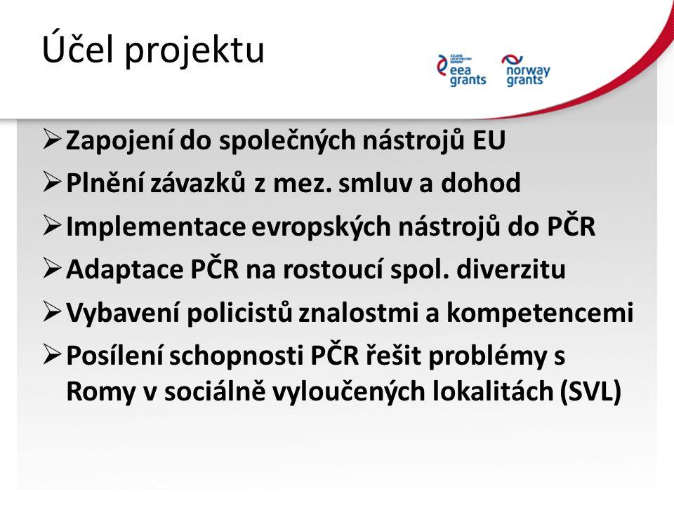 Účel projektu  Zapojení do společných nástrojů EU  Plnění závazků z mez. smluv a dohod  Implementace evropských nástrojů do PČR  Adaptace PČR na r