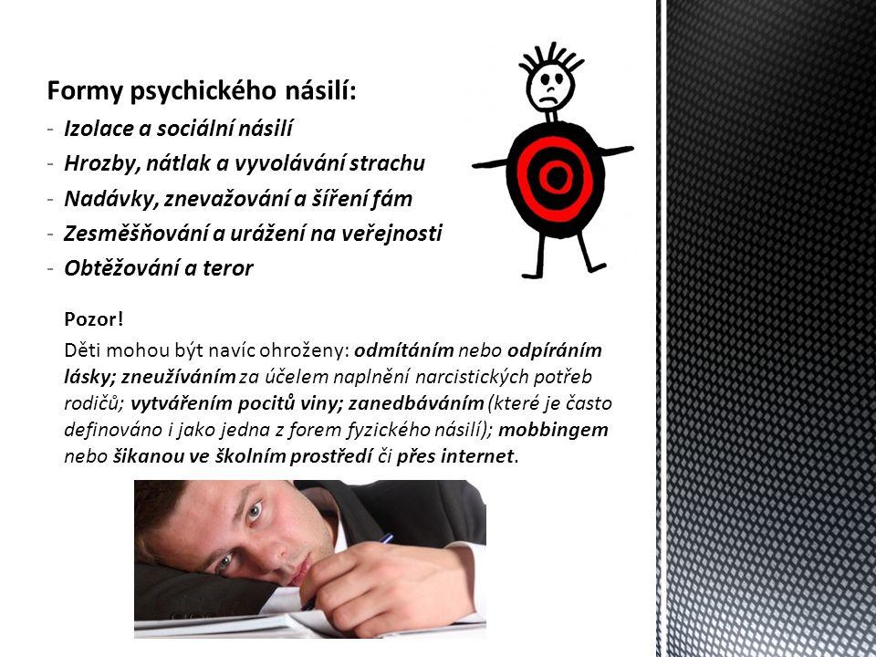Formy psychického násilí: -Izolace a sociální násilí -Hrozby, nátlak a vyvolávání strachu -Nadávky, znevažování a šíření fám -Zesměšňování a urážení na veřejnosti -Obtěžování a teror Pozor.