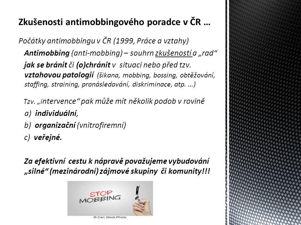 """Zkušenosti antimobbingového poradce v ČR … Počátky antimobbingu v ČR (1999, Práce a vztahy) Antimobbing (anti-mobbing) – souhrn zkušeností a """"rad jak se bránit či (o)chránit v situaci nebo před tzv."""