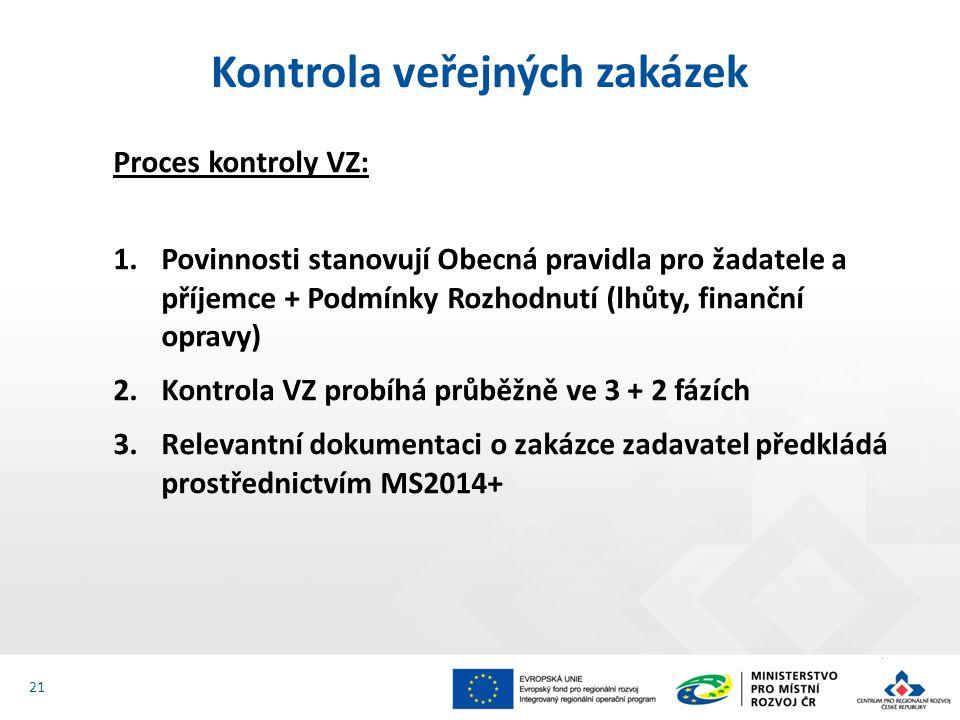 Proces kontroly VZ: 1.Povinnosti stanovují Obecná pravidla pro žadatele a příjemce + Podmínky Rozhodnutí (lhůty, finanční opravy) 2.Kontrola VZ probíhá průběžně ve 3 + 2 fázích 3.Relevantní dokumentaci o zakázce zadavatel předkládá prostřednictvím MS2014+ Kontrola veřejných zakázek 21