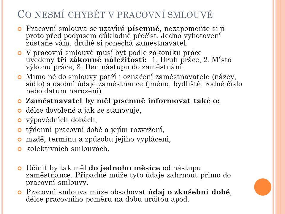 M EZI KÝM SE SJEDNÁVÁ PRACOVNÍ SMLOUVA Firma ABDC, a.s.