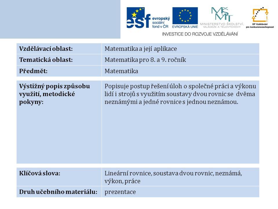 Vzdělávací oblast:Matematika a její aplikace Tematická oblast:Matematika pro 8. a 9. ročník Předmět:Matematika Výstižný popis způsobu využití, metodic